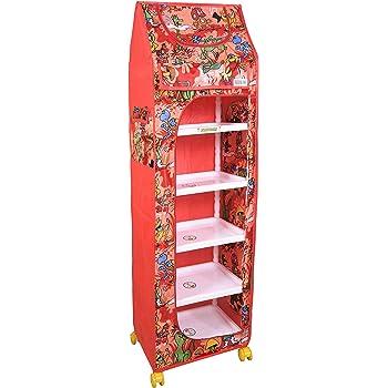 Flipzon Multipurpose 6 Shelve Foldable Baby Wardrobe/Toy Box (Jungle), Red