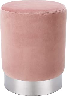 BIRDROCK HOME Round Dusty Rose Velvet Ottoman Foot Stool – Soft Compact Padded Stool - Great for The Living Room, Bedroom and Kids Room - Small Furniture (Dusty Rose)