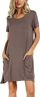 Women's Summer Casual T Shirt Dresses Short Sleeve Swing Dress with Pockets