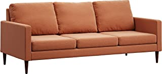 Campaign 86-Inch Steel Frame Brushed Weave Sofa, Mojave Orange with Mahogany Stained Solid Oak Legs
