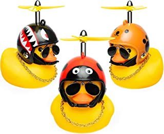 Haooryx 3 Pack Cute Rubber Duck Toys Car Ornaments Cool Glasses Yellow Ducks Car Dashboard Decoration Kit, Animal Series H...