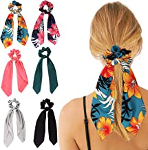 6Pcs Hair Scrunchies,PTSLKHN Satin Silk Hair Scrunchies and Chiffon with Flower Pattern Elastic Ponytail Hair Bands Hair Scarf, 2 in 1 Vintage Bowknot Hair Accessories for Women or Girls