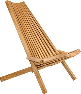 CleverMade - TMRCK-CHR Tamarack Folding Wooden Outdoor Chair - Foldable Low Profile Acacia Wood Lounge Chair for the Patio, Porch, Deck, Lawn, Garden or Home Furniture - No Assembly Required Brown