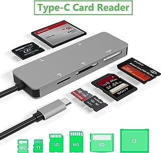 قارئ بطاقة USB C، قارئ بطاقة ألومنيوم 5 في 1، نوع C (5Gps) قارئ بطاقة عالي السرعة مع بطاقة TF/SD/MS/M2/XD/CF بطاقة ذاكرة م...