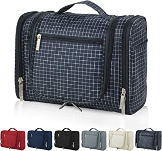 Hanging Travel Toiletry Bag for Women & Men, Cosmetic Makeup Organizer Kit, Waterproof Bathroom Shower Bag with Strong Zippers and Sturdy Hook, Upgraded Version, Navy Plaid