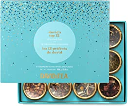 DAVIDsTEA David's Top 12 Tea Sampler, Loose Leaf Tea Gift Set, Assortment of 12 Fan Favourite Teas, 106 g / 3.8 oz (SP)