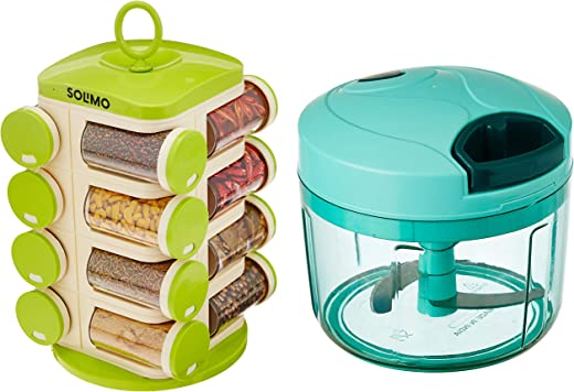 Amazon Brand - Solimo Vegetable Chopper (Large, 725 ml) + Amazon Brand - Solimo Revolving Spice Rack Set (16 Pieces)