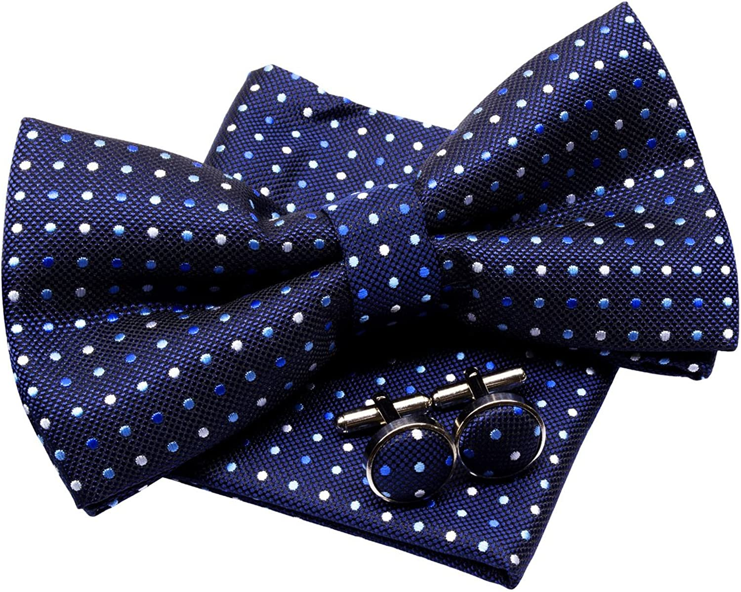 Vintage ThreeColour Polka Dots Woven Pretied Bow Tie (5 ) w Pocket Square & Cufflinks Gift Set