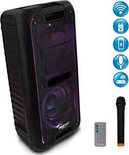 Wireless Portable PA Speaker System - 360W Bluetooth Compatible Battery Powered Rechargeable Outdoor DJ sound Speaker Microphone Set with MP3 USB SD FM Radio RCA 1/4
