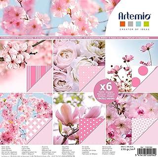 Papier scrapbooking Artemio - Rose fleurs - 30,5 x 30,5 cm - 6 feuilles