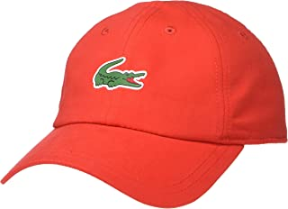 Lacoste Mens Sport Polyester Cap with Green Croc, red, ONE