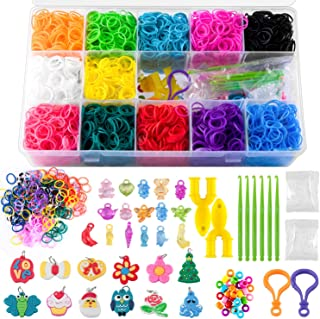 NPLUX 5500 Rainbow Rubber Bands Refill Kit,Rubber Band Bracelet Kit with 12-Color Loom Bands,S-Clips,Crystal,Charm,Y-Loom,Crochet Hooks,Organizer Case,Beads