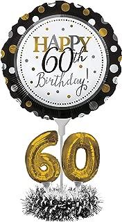 Creative Converting Happy 60th Birthday Balloon Centerpiece Black and Gold for Milestone Birthday - 317308