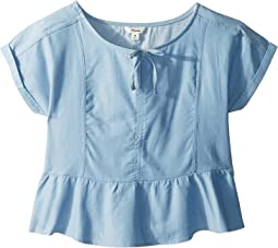 Chambray Short Sleeve Top with Ruffle Bottom (Big Kids)