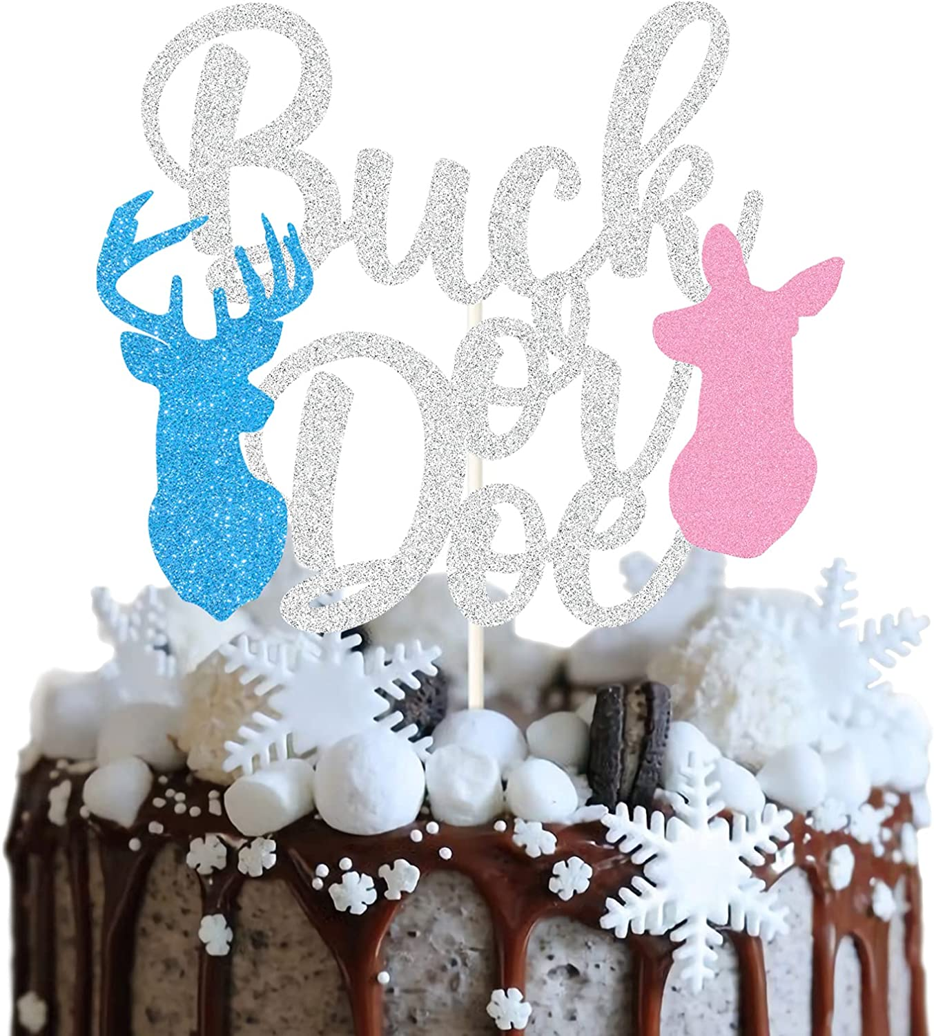 Buck or Doe Cake Topper,Baby Shower Cake Decor,Winter Gender Reveal Party Decoration Products , Glitter Deer Cake Topper, He or She?