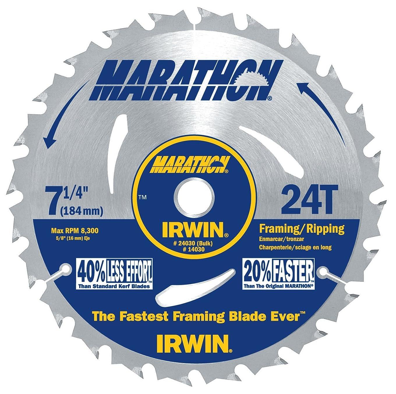 ウィスキー入浴和60枚パック アーウィン 24030 マラソン 18.42cm (7 1/4インチ) × 24本の歯 フレーミング及びリッピング 丸鋸刃 バルク (インポート)