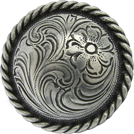 "Y Cross Brand Scarf Slide Concho 1 1/4"" Antique Silver Plate Round Rope Edge Western Engraved Concho"