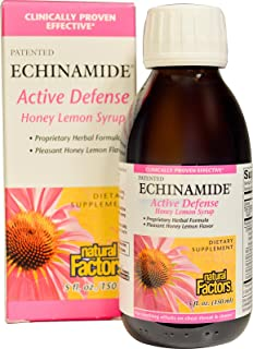 Natural Factors - Echinamide Echinacea Cough Syrup, Supports Immune System Function, Honey Lemon, 30 Servings (5 oz)
