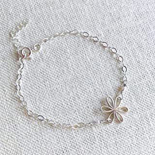 Daisy Flower Bracelet, Silver Daisy Charm Bracelet