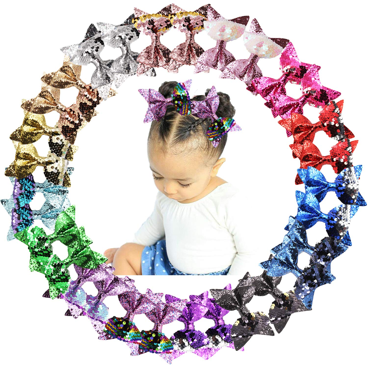 Free Shipping New 30PCS 4Inch Glitter Hair Bows Sequin With Ranking TOP7 Alliga Reversible