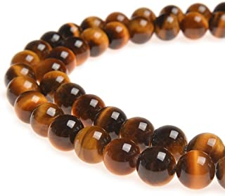 PLTbeads AA Grade 10mm Natural Yellow Tiger Eye Gemstone Round loose Beads Approxi 15.5 inch 38pcs 1 Strand per Bag for Jewelry Making Findings Accessories