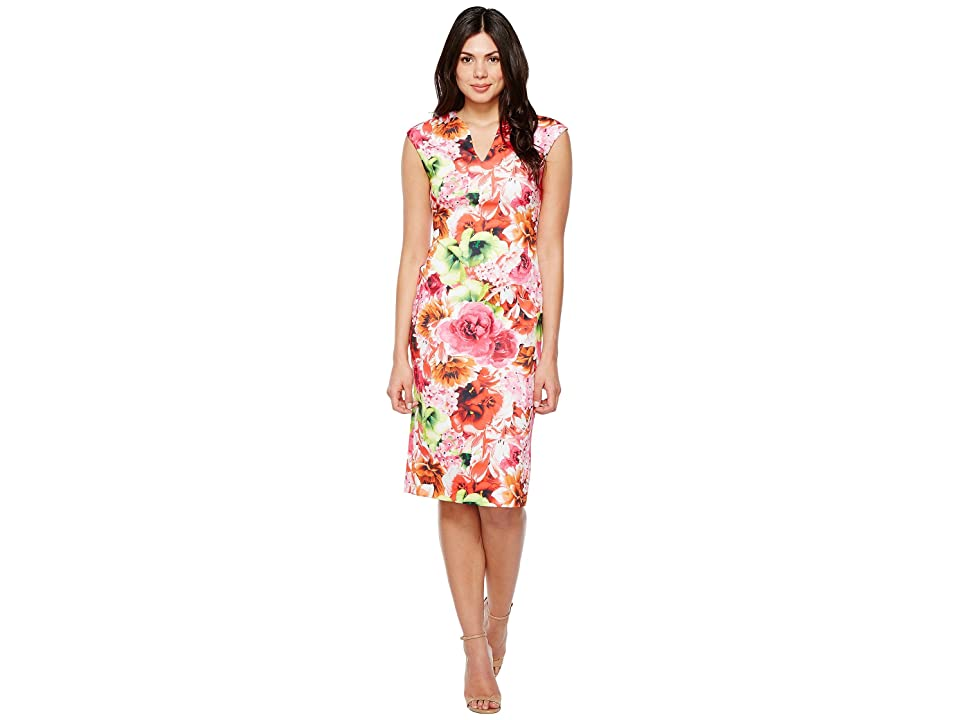 CeCe Floral Tropic Slitneck Scuba Sheath Dress (Azalea Bloom) Women