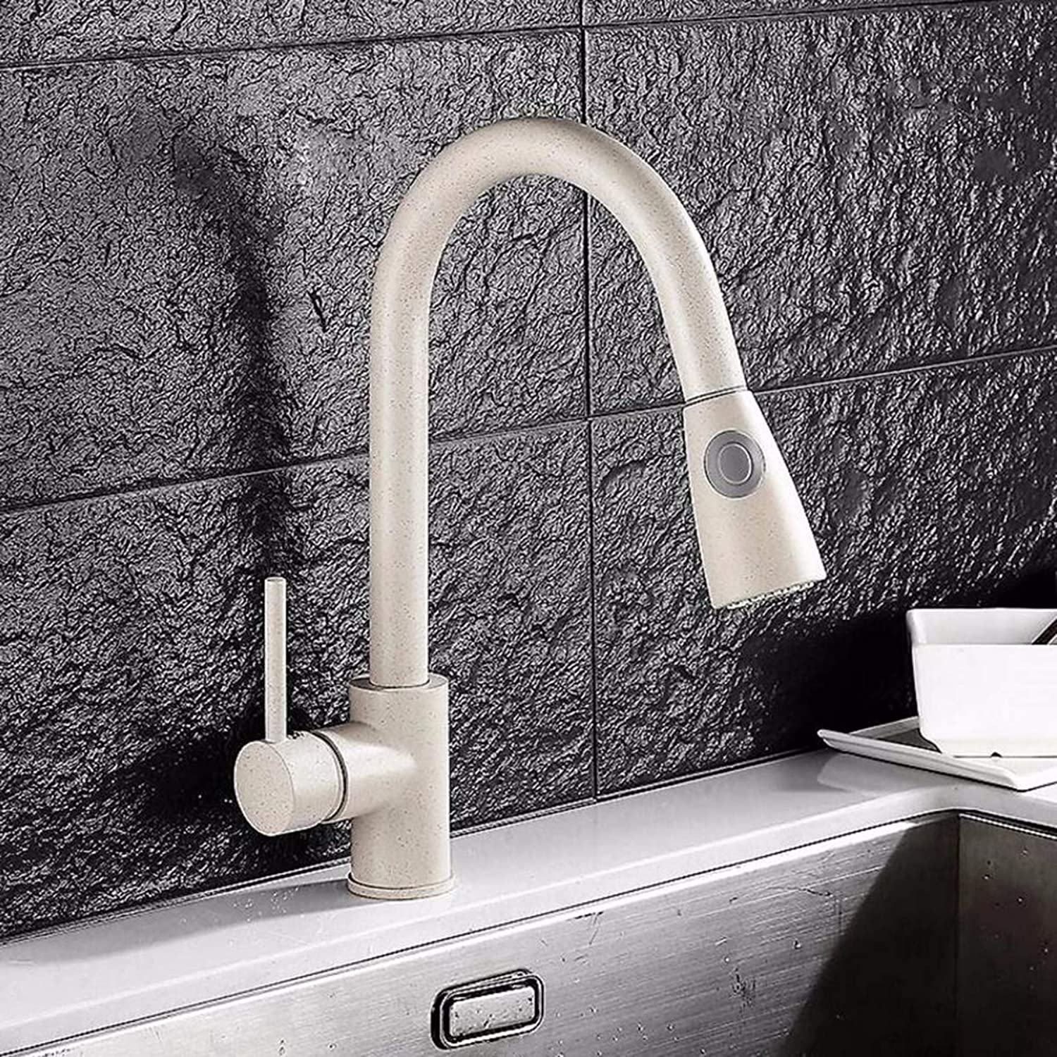 QPGGP-Kitchen mixer Quartz flume oat-coloured hot and cold pumping faucet with large turning