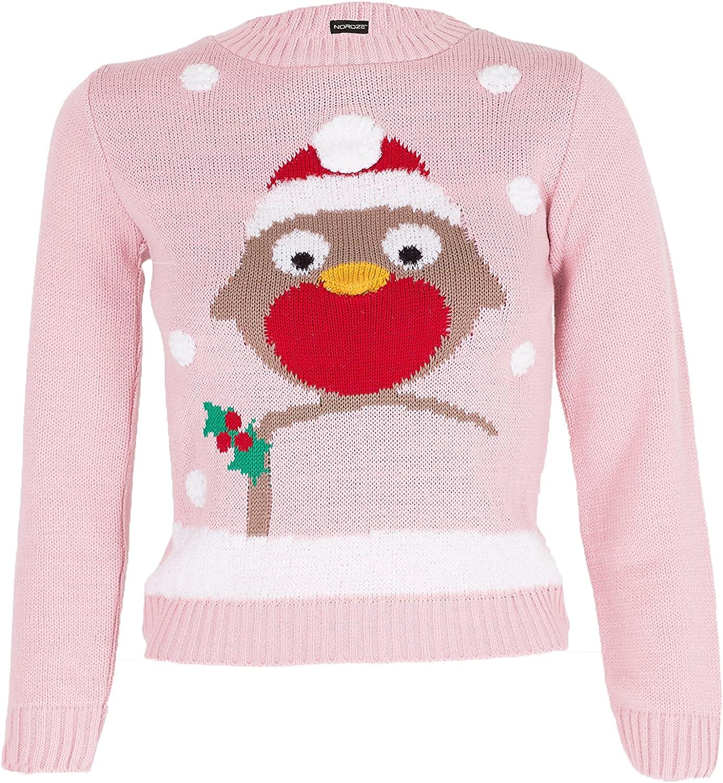 Noroze Girls Christmas 3D Jumper Kids Bird Reindeer Retro Pullover Sweater Top