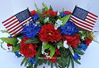 Summer Patriotic Cemetery Flowers with Red Roses, Blue Spider Mums, Blue Roses, and White Forget-me-nots headstone saddle arrangement