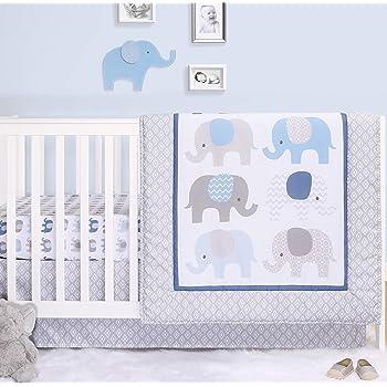 2 Pack Set The Peanutshell Crib Sheet Set for Baby Boys or Girls Grey Elephants and Stripes