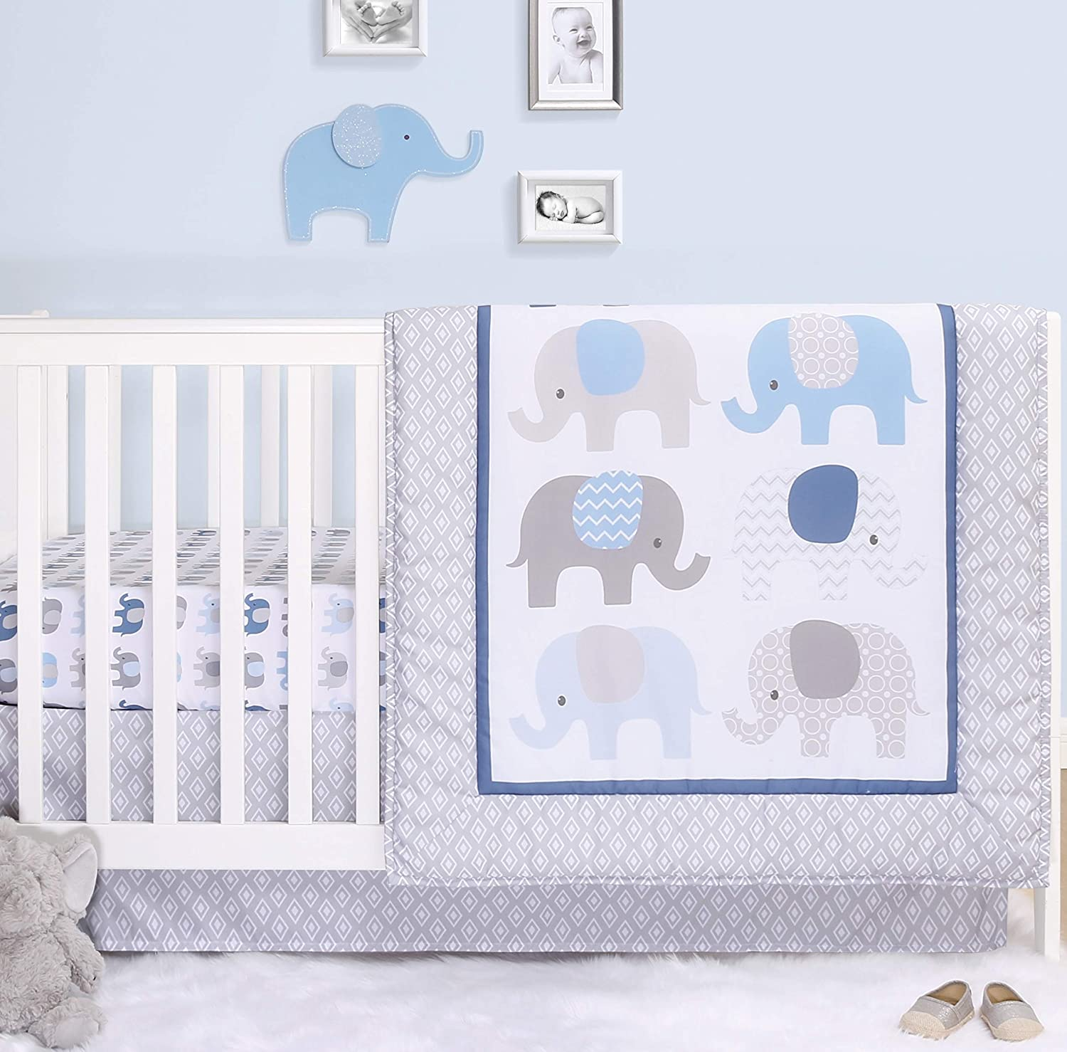 The Peanutshell Elephant Crib Bedding Set 3 Large special price !! Piec Boys Baby Popularity for