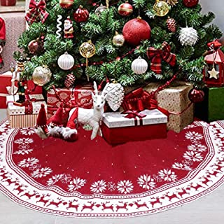 Yuehuam Christmas Tree Skirt, 36 Inch Snow Flower Elk Knitted Xmas Tree Skirt for Christmas Decoration Indoor Outdoor (Red)