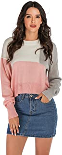 Annystore Womens Casual Fall Oversized Sweater Crew Neck Color Block Lightweight Long Sleeve Knit Pullover Jumper Tops