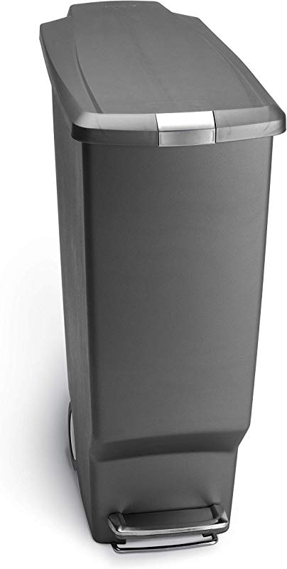 Simplehuman 40 Liter 10 6 Gallon Slim Kitchen Step Trash Can Grey Plastic With Secure Slide Lock