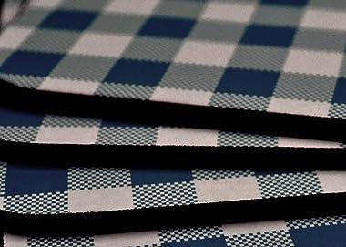 "Benson Mills Cork Placemats (Calvin Gingham Check Placemat Navy Blue, 12"" X 16"" Rectangular Set of 4)"