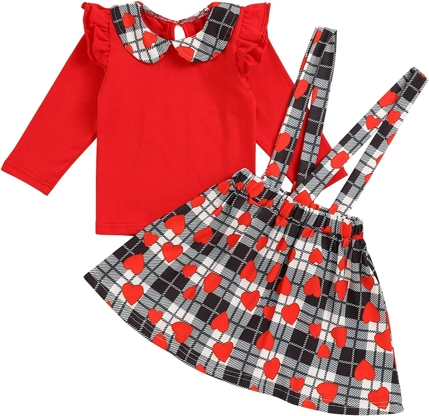 Valentine's Day Baby Girl Outfits Dress Ruffle Sleeve Tops Heart Suspender Skirt Baby Girl Clothes Set