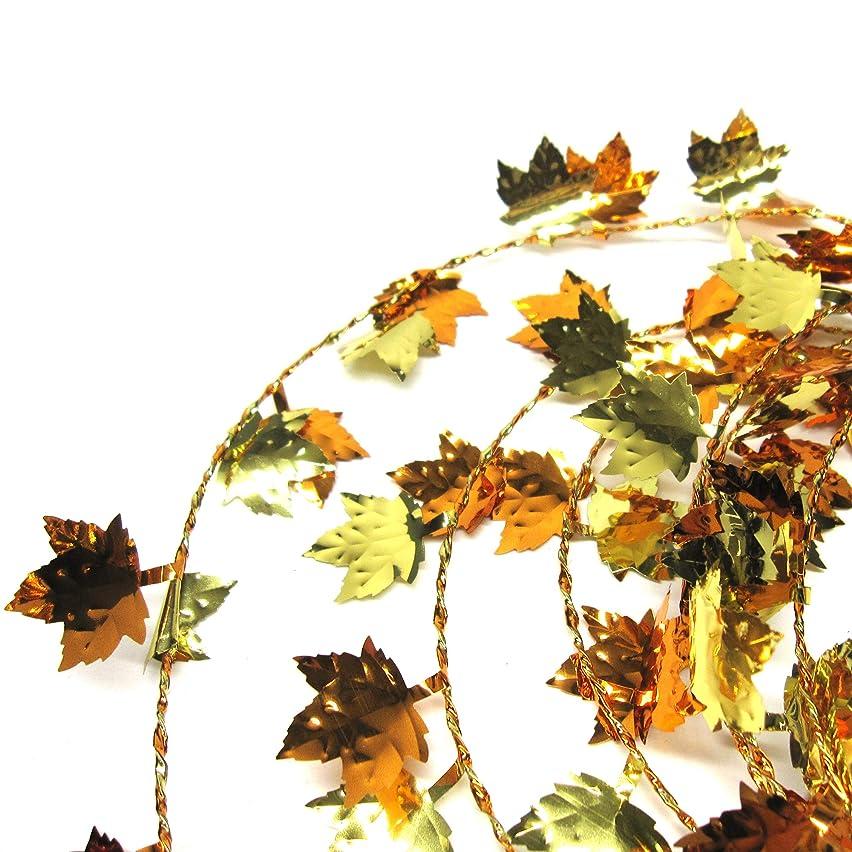 Brite Star Maple Leaf Wire Garland Tinsel, Orange