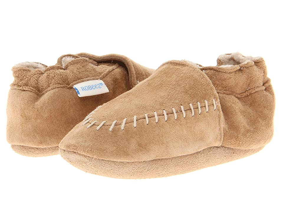 Robeez Cozy Moccasin Soft Sole (Infant/Todder) (Taupe) Boys Shoes