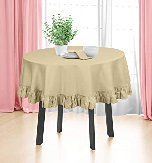 Vargottam Cotton Table Linens Ruffle Tablecloth, Round Table Cover Protector Solid Tablecloth, Farmhouse Tabletop Washabl...