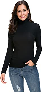 Women Long Sleeve High Turtleneck/Mock Neck Pullover Slim Fit T Shirt Tops