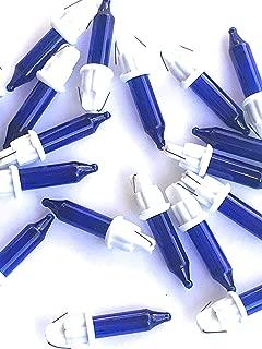 50 Blue 6 Volt Replacement Mini Bulbs - White Base - for Christmas Light Strings