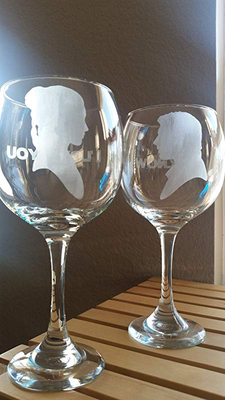 Star Wars Inspired Wine Glass Set Han Solo Leia Organa I Love You I Know