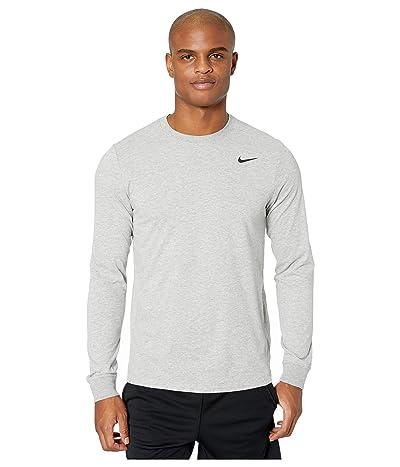 Nike Dry Tee Dri-FIT Cotton Long Sleeve Solid (Dark Grey Heather/Black) Men