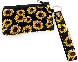 Daisy Lane Sunflower Credit Card Holder for Women, Zipper Wristlet Pouch Neoprene