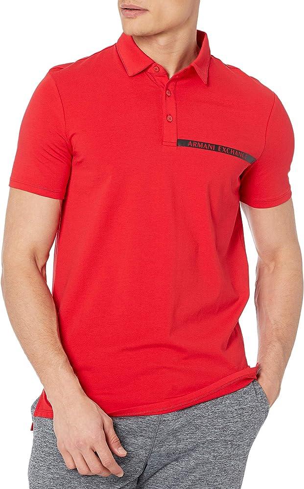 Armani exchange polo, maglietta per uomo, maniche corte, 95% cotone, 5% elastan 3KZFHAZJE6Z1400A