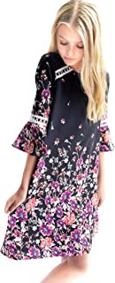 Big Girls Tween Beautiful Floral Printed Long Sleeves Dresses (with Options), 7-16
