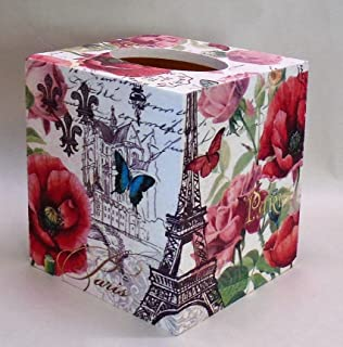 Paris French Made To Order Lavender Handmade Decoupage Tissue Box Cover