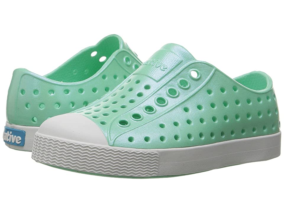 Native Kids Shoes Jefferson Iridescent (Toddler/Little Kid) (Glass Green/Shell White/Galaxy Iridescent) Girls Shoes