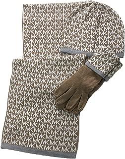 Women's 3 Piece Set MK Repeat Logo Scarf, Hat & Gloves (Camel/Cream)