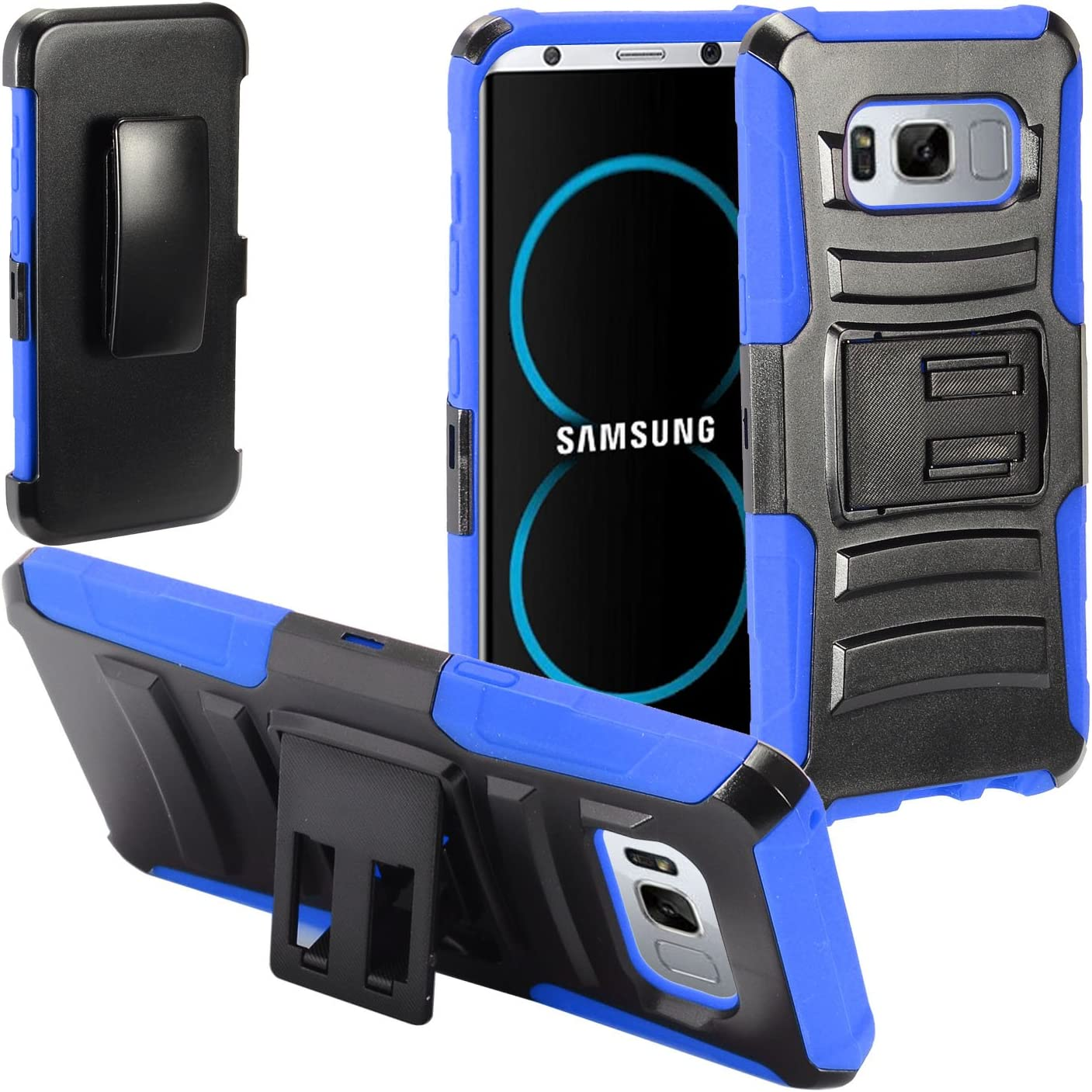 Eaglecell - Compatible with Samsung Galaxy S8 Plus, S8+ SM-G955 - Hybrid Case w/Stand/Belt Clip Holster- CV1 Blue